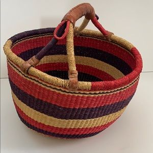 West African Market Basket w/ Leather Handle